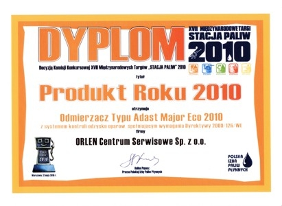 Product of the Year 2010 - Stacja Paliw 2010