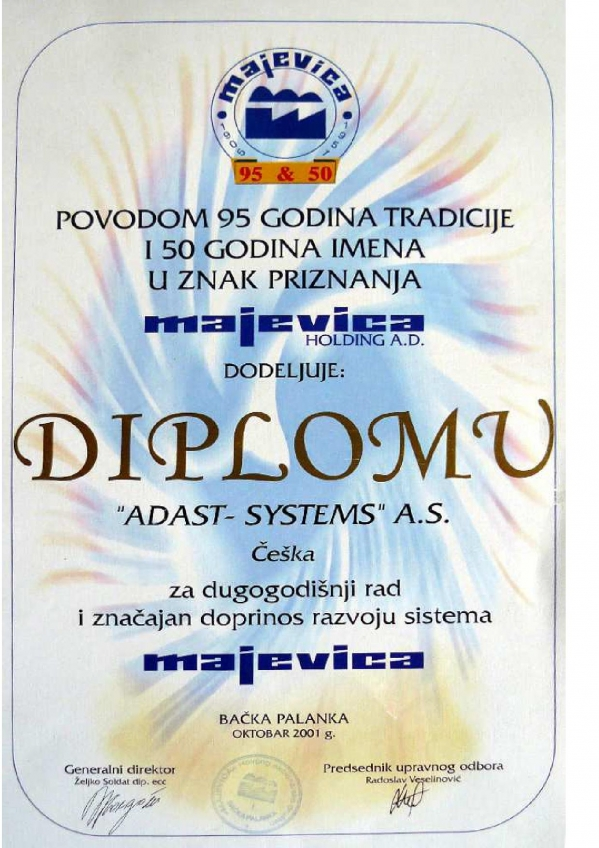 Diploma for long-term cooperation